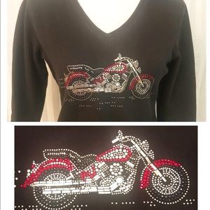 Christine Alexander Tops - Christine Alexander rhinestone and stud Moto shirt